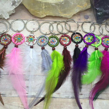 Dream catcher Keychain Mini Dream catcher keyring Stocking Stuffer teen Gift Mini Dream catcher Key Ring Dream catcher Lanyard purse charm