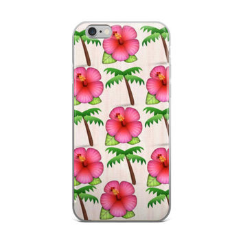 Flowers & Palm Trees Collage Cute Girly Girls Pink & Green iPhone 4 4s 5 5s 5C 6 6s 6 Plus 6s Plus 7 & 7 Plus Case