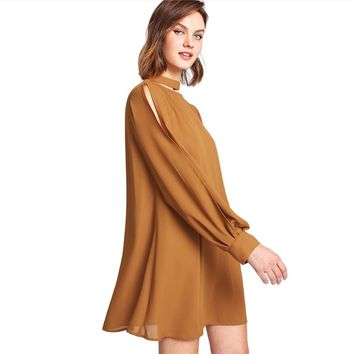 Fashion Dress Split Long Sleeve Stand Collar Short Dress  Elegant Summer Women Casual Dress