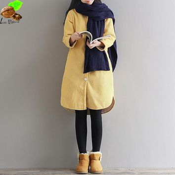 Women Autumn & Winter Casual Loose Thick Long Corduroy Coat Jacket Mori Collocation Cozy Vintage Fashion Jackets Coats