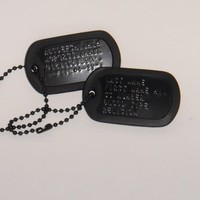 Black Custom US Military Dog Tag Personalized ID Set. Complete with Chains and Silencers
