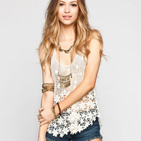 Dolled Up Womens Daisy Crochet Tank Natural  In Sizes