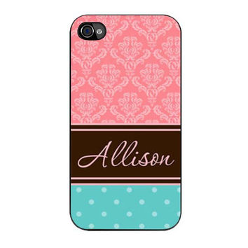 coral damask and tiffany blue polka dots iPhone 4 4s 5 5s 5c 6 6s plus cases