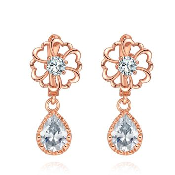 Fancy Magical Wheel of Fortune Love Powers Hearts Teardrop Crystals Gold-Tone Amulets Earrings
