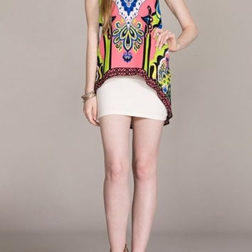 Eliza Bella for Flying Tomato Pink Vintage Print High-Low Blouse SML