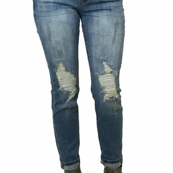 DCCKAB3 Kan Can Medium Wash Torn Knee Super Skinny Jeans