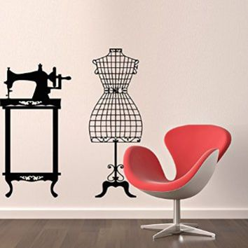 Wall Decals Sewing Machine Mannequin Decal Vinyl Sticker Decor Room Home Interior Design Art Mural MN163