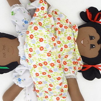 cloth rag doll reversible African American topsy turvy flip flop doll yellow black red UP607