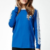 adidas 3-Stripes Long Sleeve T-Shirt - Womens Tee - Blue - Small