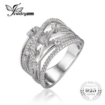 jewelrypalace luxurious round wide band cocktail ring for women - Wide Band Wedding Rings