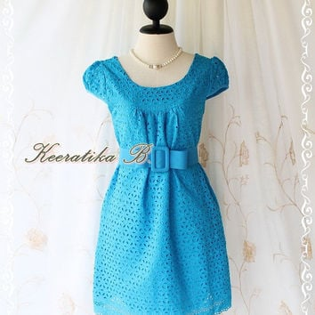 Sound Of Summer III - Sweet Lady Cotton Lace Dress Blue Color Dolly Cap Sleeve Yoke Style Party Birthday Anniversary  Dress