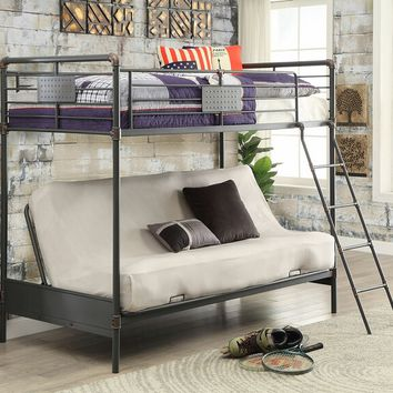 Olga I collection antique black finish metal frame industrial inspired style twin over futon base bunk bed set