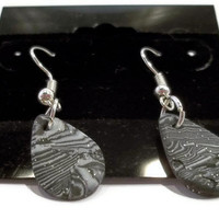 Polymer clay dangle earrings black, white and silver mokume - teardrop shaped