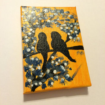 Silhouette Birds on 2x3 Stretched canvas, love birds