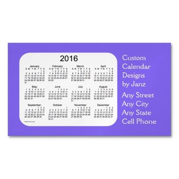 2016 Blue Berry Business Calendar by Janz Magnet Magnetic Business Cards (Pack Of 25)