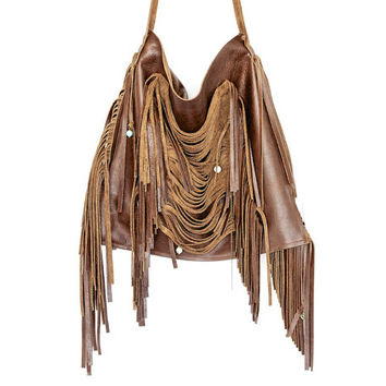 FABULOUS Custom Designed Brown Leather Fringe Bag Hip Chic Fall Fashion Hippie Chic Dripping and Dangling Fringe - Fall Fashion - Fall Bag