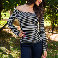 Royals Off The Shoulder Top - Black