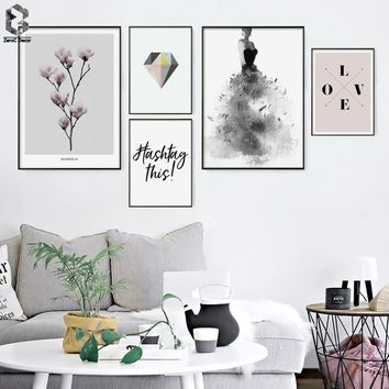 Watercolor Girl Canvas Art Posters and Prints Scandinavian LOVE Painting Wall Picture for Living Room Modern Home Decoration