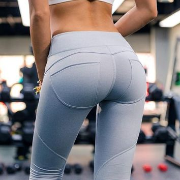 Grey Skinny High Waisted Going out Sports Yoga Long Legging