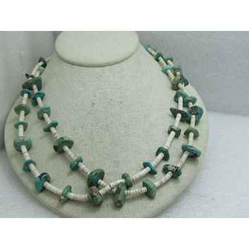 """Vintage Southwestern/Native American Turquoise Nugget & Shell Heishi Beaded Necklace, 43"""""""