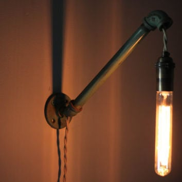 Shabby chic wall light with Edison bulb by pgpostals on Etsy