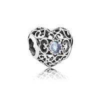 PANDORA March Signature Heart Charm, Aqua Blue Crystal