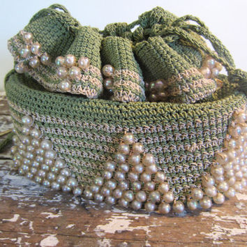 Vintage Purse Hand Bag Crocheted Purse by VintageShoppingSpree