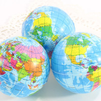 "Globe Map of the World Soft Round Balls 2.75"" (3 piece set) Wedding Favors Romantic DIY Gift Ideas"