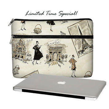 SALE  13 inch Laptop Sleeve /  Macbook Pro 13 Case / 13 Macbook Air Bag /  Macbook Pro Retina Case / Zipper Pocket paris (RTS)