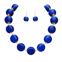 Royal Blue & Gold Thread Ball Statement Necklace and Earring Set