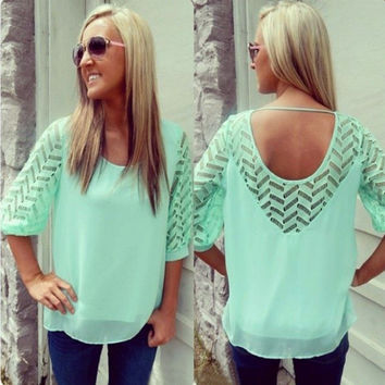Green Backless Short Sleeve Chiffon Shirt