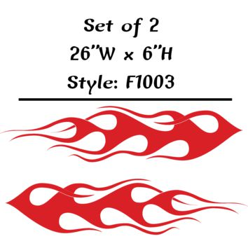 "Vehicle Tribal Flames Vinyl Decal Sticker Car Truck Boat Graphics Racing - STYLE F1003 - Set of (2) 26""W X 6""H"