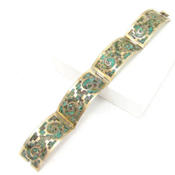 Taxco Mexico Sterling Silver Malachite Mexican Bracelet Panel Hinged Clasp Bangle Turquoise 925 Designer Signed Vintage Estate