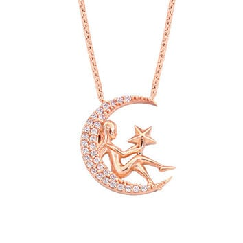 Girl on the Moon 14k Solid Gold Necklace Rose Gold