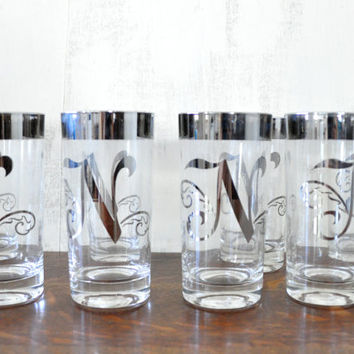 Vintage N Monogram Glasses, Highball with Mercury Glass Rims, Queens Lusterware, Silver Letter Glasses