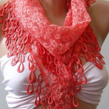 pomegranate flower color / Elegance  Shawl / Scarf with Lacy Edge-