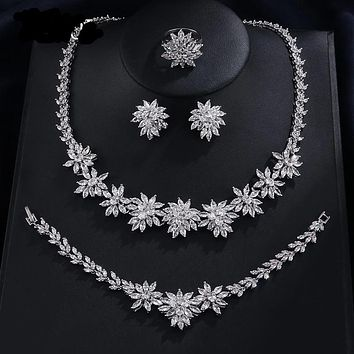 Classic Zirconia Wedding Jewelry Sets Flower Shaped