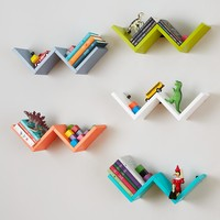 Origami Wall Shelf (Green) - zigzag shape