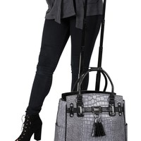 """""""THE GREYSTONE"""" Alligator Rolling iPad, Tablet or 17"""" 17.3"""" Laptop Tote Carryall Bag"""