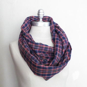 Infinity Scarf, Plaid Blue, Red and Yellow Loop Scarf, Mobius Scarf, Fashion Scarf, Fall Essentials