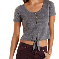Lace-Back Tie-Front Tee by Charlotte Russe