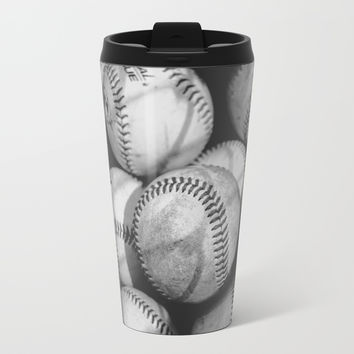 Baseballs in Black and White Metal Travel Mug by Leah McPhail