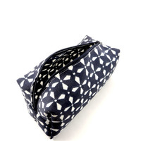 Navy and White Dutch Flower Makeup Bag, Gadget Case, Under 15, Pencil Case, Medium, Zippered, Cosmetic Case, For Her