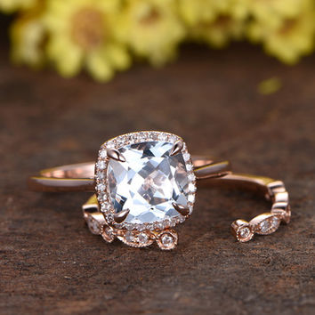 2.2 Carat Cushion Cut Aquamarine Bridal Set Diamond Wedding Ring 14k Rose Gold Open Gap Art Deco Matching Band