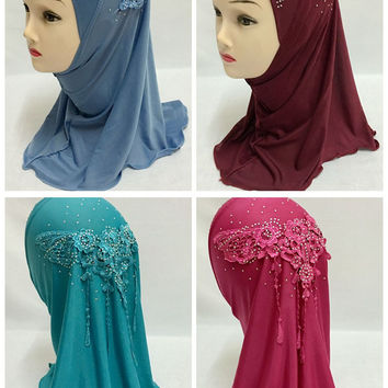 Hot Fashion Shawl Scarf Polyester Glitter Flower Hijab Girls Viscose Tassels Cape Rhinstone Headband  for 0-8 years old