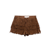 FRINGE FAUX SUEDE SHORTS (2 colors)