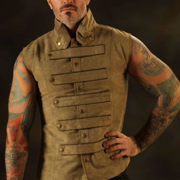 New Mens Steampunk Military Waistcoat Vest Top Mandarin Vintage Guard Snap SPA2