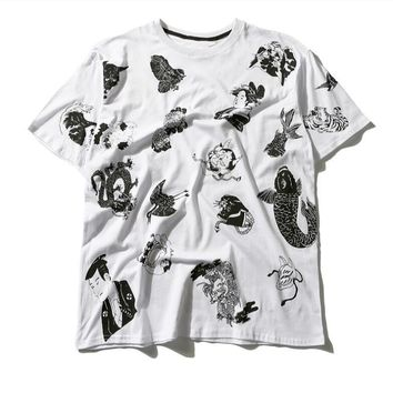 Ukiyo-e Japanese Style Printed Loose Fit T-shirt