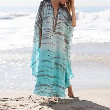 2019 Print Chiffon Beach Cover up Tunics for Beach Long Kaftan Bikini Cover up Robe de Plage Sarong Beach Swimsuit coverup #Q680