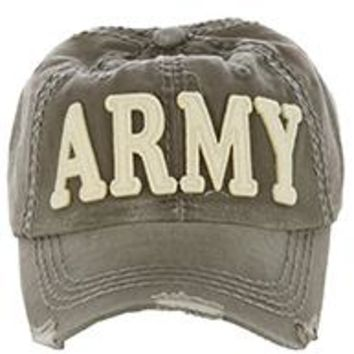 OLIVE  stylish  ARMY DISTRESSED AND FADED  Baseball HAT /CAP